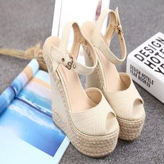 Pumps Denim Casual Hot Selling Women Ladies Wedge Shoes Woman Peep Toe High Quality Heels Summer Style Canvas Straw Fish Mouth