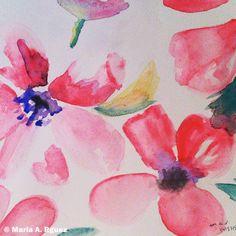 Hoy la cosa va de #flores.  Jueves entre #acuarela.  #Dibujo