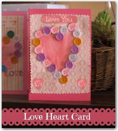 love heart card for little ones to make
