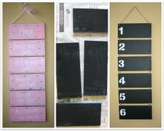 Chalkboard sign- The author of this said: This was a really cute bathroom sign I bought when I was junkin, but when I looked at it, all I envisioned was a chalkboard menu, or something chalkboard. So I took it apart, spray painted it with the Valspar Tropical Oasis,  then painted it with chalkboard paint and restrung it together with twine. Numbers were a stencil with chalkboard pens!