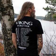 """Top-quality t-shirt with a front print: """"Viking World Tour"""", and a back print with years and places of some of the Viking expeditions and raids."""