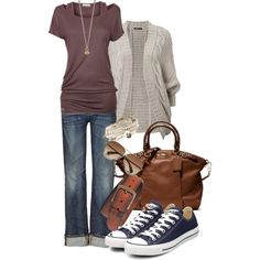 A so me outfit:) love my converse, of course jeans (y'all know that) cardigan and simple tee. Simply perfect
