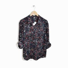 IRO Print INNA Blouse Top Oversized Shirt in Burgundy Black & Blue - NWT - 0/XS