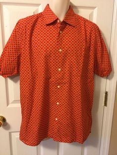 Cezani Large Cotton Art Deco Geometric Button Front Short Sleeve Shirt #Cezani #ButtonFront
