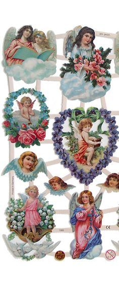 Floral angel scraps from Germany ~ perfect for Christmas cards and ornaments