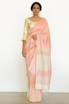 Urban Drape Luxe Soft Coral Pastel Handwoven Saree