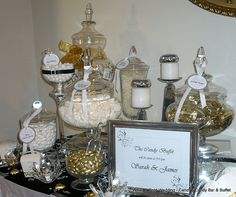 Candy buffet--Love the 'open at' sign!