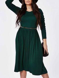 Plain Exquisite Round Neck With Belt Plus Size Midi Dress