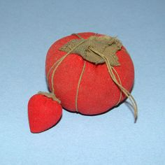 Vintage Small Sewing Red Tomato Pin Cushion Strawberry Emery Needlework Tool Child Size by thenewenglandhuswife on Etsy