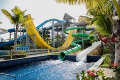 The best all-inclusive resorts in Punta Cana don't just have sandy beaches and turquoise waters. They have water parks, too! At these Dominican Republic all-inclusive water park resorts, the whole family will have fun! Punta Cana All Inclusive, Punta Cana Hotels, All Inclusive Family Resorts, Best Resorts, Mexico Resorts, Park Resorts, Memories Splash Punta Cana, Nickelodeon Hotel, Caribbean Vacations