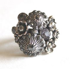 Flower bouquet adjustable ring with crystals by bunnyboutique, $27.00