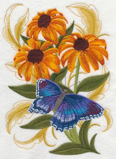 Machine Embroidery - Red Spotted Butterfly and Cone Flowers