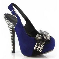 BP556-CAROLINE Women Platform Close Toe Sling Back Pump - Blue