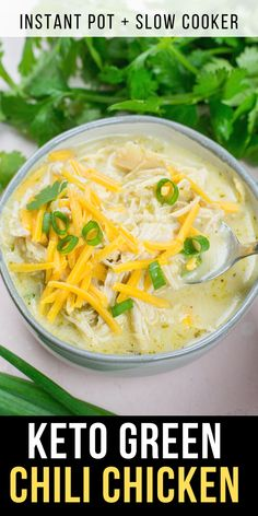 This Keto White Chicken Chili is loaded with shredded chicken, chilis, peppers and cauliflower rice! At about net carbs per heaping serving this is the ultimate creamy keto comfort food! Delicious Crockpot Recipes, Easy Soup Recipes, Vegan Recipes, Dinner Recipes, Cooking Recipes, Yummy Recipes, Yummy Food, Easy Weeknight Meals, Healthy Dinners