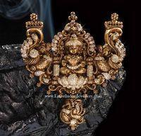 Fusion Lakshmi Pendant in Antique Nakshi Work Gold Earrings Designs, Gold Jewellery Design, Necklace Designs, Gold Designs, Diamond Jewellery, Tanishq Jewellery, Designer Jewellery, Silver Jewellery Indian, Temple Jewellery