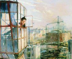 "historicaltimes: "" District of Tomorrow by Yuri Pimenov, 1957 """