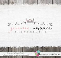 Premade Logo Design - Exclusive Hand Drawn Watercolor crown and Swirls Logo Design  OOAK