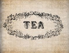 Antique Ornate Retro Kitchen Tea Label Digital Download for Papercrafts, Transfer, Pillows, etc Burlap No. 7925. $1.00, via Etsy.