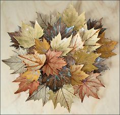 Maple leaf collage by Joan Hardie . The individual leaves are made by impressing London Plane leaves into clay. They are fired and decorated separately and the collage is cemented together onto a wooden backing. Slab Pottery, Ceramic Pottery, Ceramic Decor, Ceramic Art, Design Vitrail, Polymer Clay Kunst, Sculptures Céramiques, Clay Flowers, Contemporary Ceramics