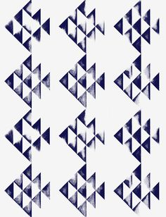 Amish Fish in Azurite Blue on Swan White from Manuka Textiles #blue #white #geometric #wallpaper #wallcovering #interiordesign #designinspiration #thetextilefiles #clothandkindinteriordesign #manukatextiles