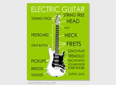 Electric Guitar Parts Art Print of Pop Art by twenty3stars on Etsy, $10.00