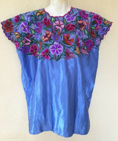Lovely #mexican blouse  #embroidered #embroidery #turquoise #textiles #handmade #etsy #huipil #craft #bohemian #boho #gypsy #blouse #smock