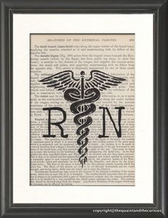 Nurse RN Caduceus Medical Print Vintage Medical Book Page - Beautifully Matted Gift Present Home Office Decor. $14.00, via Etsy.