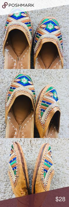 New 2018 ! Bling Bling Jutti New Collection 2018 ! Bling bling design in vibrant blue and green combination. Fully thread embroidered. Leather sole. Tend to expand a bit after 3-4 wears.Super Comfy!  In India, we call these 'jutti'. Shoes Flats & Loafers