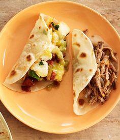 Potato and chorizo tacos - Gourmet Traveller