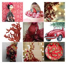 """Festive"" by pupillae ❤ liked on Polyvore featuring art, gold, red and festive"