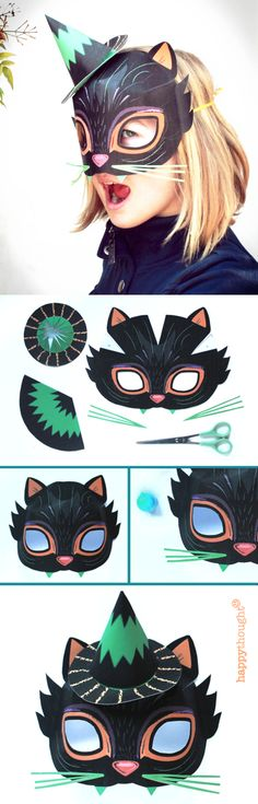 Make a fun witches cat mask with a printable Halloween mask template from Happythought! https://happythought.co.uk/product/10-printable-halloween-masks