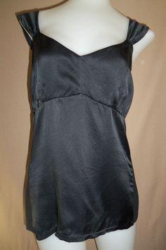 ANN TAYLOR Medium Sleeveless Black Silk Strech Shirt #AnnTaylor #Blouse #Clubwear