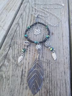 Owl Dream Catcher Pendant  Green Forest by TheEarthDragonsCave