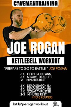 Joe Rogan Kettlebell Workout - If Joe Rogan programmed a workout for himself this is what I think it would look like. Check the l - Kettlebell Snatch, Full Body Kettlebell Workout, Kettlebell Weights, Kettlebell Training, Kettlebell Challenge, Training Workouts, Interval Training, Workout At Work, Gym Workouts