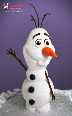 Watch a free tutorial on how to make this 3D Olaf cake at the following link (Also comes with free downloadable templates)… http://www.yenersway.com/tutorials/free-videos/3d-olaf-cake/