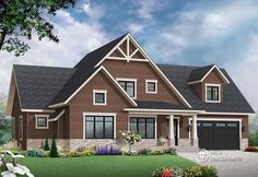 Discover the plan - Gailon 4 from the Drummond House Plans house collection. Transitional Style Home, large unfinished bonus space, pantry & laundry, master suite. Total living area of 1845 sqft. The Plan, How To Plan, Kitchen With Big Island, Big Kitchen, Grand Chalet, Decorative Wood Trim, Drummond House Plans, House Plans And More, Craftsman Style House Plans