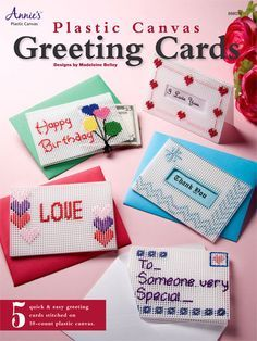 Say it from the heart with these 5 quick-to-stitch greeting cards. Happy Birthday, Thank You, I Love You, To Someone Special and Love is Eternal are all stitched on 10-count plastic canvas to let someone know how special they are. Each card is 3 1/4&...