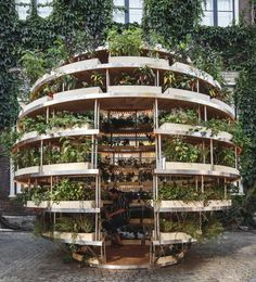 Growroom is a prototype for foodproducing architecture in our cities is part of Sustainable garden - Part garden, part urban furniture and public space, this structure hopes to help people grow their own food and green our cities Jardim Vertical Diy, Vertical Garden Diy, Vertical Gardens, Vertical Planter, Garden Spheres, Indoor Vegetable Gardening, Organic Gardening, Urban Gardening, Kitchen Gardening