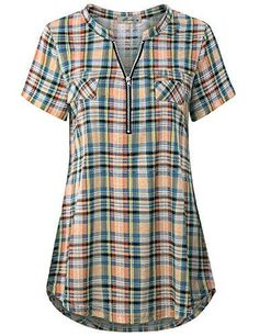 Finice Women & Zip V-Ausschnitt Kurzarm Casual Plaid Shirt Casual Dresses, Casual Outfits, Fashion Outfits, Womens Fashion, Fashion Trends, Kurta Designs, Blouse Designs, Plaid Shirts, Plaid Shirt Women