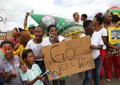 Villagers form Qunu, where Nelson Mandela will be buried, lined the streets waiting for his funeral cortege to arrive. Favorite Son, Waiting For Him, Nelson Mandela, Cape, Sons, Gallery, Mantle, Cabo, Roof Rack