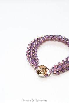 radiant orchid. swarovski crystal bracelet  by jl marie jewelry on etsy