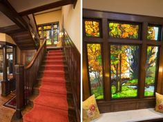 So pretty and love the stained glass window! c. 1905 Prairie style home in Minneapolis, MN.