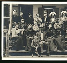 Large group of people on porch steps :: Historic Huguenot Street