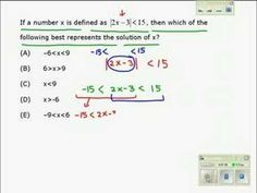 Simple, but good review on math 2x-3|<15 | http://youtu.be/QWaoiKPC2gs