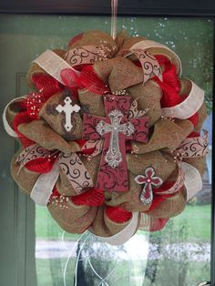 Burlap and Crosses Deco Mesh Wreath Red by BurlapBowsAndBullets, $120.00