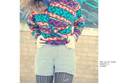 Colorful Super Soft Aztec Jacket by THESALTYFAWN on Etsy, $13.00