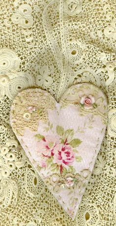 Shabby Pink Rose Barkcloth Vintage Lace by sweetinspirations, $9.99