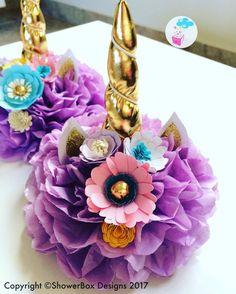 Unicorn Centerpiece ShowerBox Designs Find us on FB www.myshowerbox.com