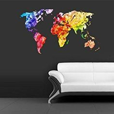 World map wall decal map decor map decal map sticker map amazon full color wall decal mural sticker decor art world map watercolor water gumiabroncs Image collections