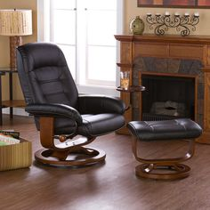Red Barrel Studio New Republic Manual Swivel Swivel Glider Recliner With Ottoman Recliner With Ottoman, Modern Recliner, Leather Chair With Ottoman, Leather Reclining Sofa, Swivel Recliner, Recliners, Swivel Glider, Recliner Chairs, Leather Recliner